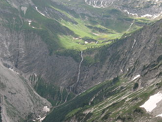 Valley step - Typical valley step in a trough valley (Vilsalptal, Allgäu Alps). In the foreground its U-shape is almost filled in; behind is a gentle ravine