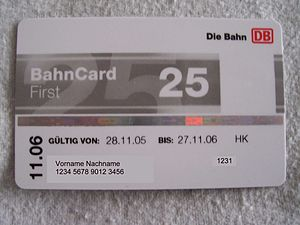 BahnCard - BahnCard 25 First without photograph