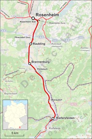 Rosenheim–Kufstein railway - Image: Bahnstrecke Rosenheim–Staatsgren ze bei Kufstein