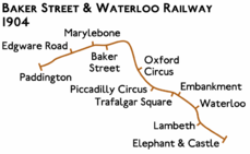Route diagram showing line running from Paddington at left to Elephant & Castle at bottom right with additional stations added at Edgware Road and Lambeth