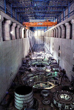 Turbines inside the Bakun Dam power house. The dam is the main source for electric energy in Sarawak. Bakun Dam Power House.jpg