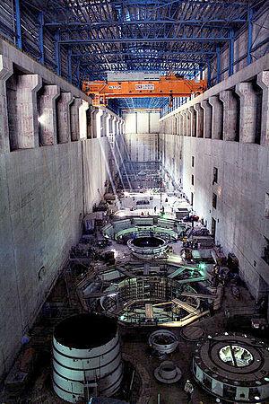 Bakun Dam - View of turbines inside the powerhouse in 2009