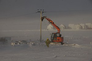 Cyclone Xaver - Repairing electricity cables in the wake of Xaver, Baltasound, Unst Shetland.