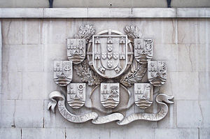 Banco Nacional Ultramarino - Bas-relief at Banco Nacional Ultramarino, Lisbon, of the coats-of-arms of the Portuguese Empire and various of its colonies