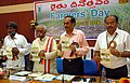 Bandaru Dattatreya releasing the agriculture publications at the Farmers' Day function, at the Directorate of Rice Research, in Hyderabad on November 15, 2014.jpg