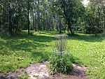Basket at Lochness Park disc golf course.JPG