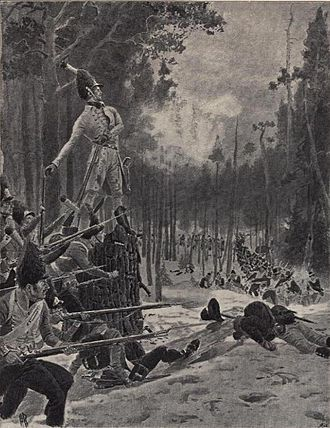 Battle of Trangen - Captain Nicolay Peter Drejer on the stump during the battle
