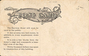 Aransas Pass, Texas - Bay-View Hotel in Aransas Pass (postcard back, circa 1893-1924)