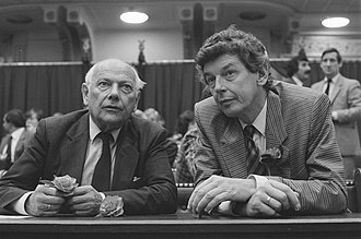 Leader of the Labour Party (Netherlands) - Incumbent Leader Joop den Uyl and future Leader Wim Kok in the House of Representatives on 3 June 1986.