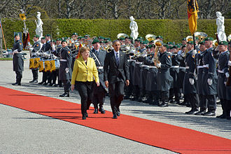 Herrenhausen Gardens - In 2016, German Chancellor Angela Merkel welcomed the 44th President of the United States of America Barack Obama in the Great Garden in Hannover