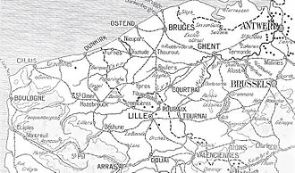 Battle of La Bassée - Image: Belgium and northern France, 1914