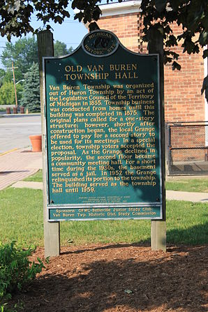 Belleville Michigan Old Van Buren Township Hall Historical Marker.JPG