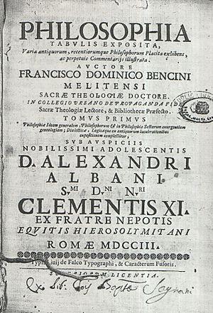 Francis Dominic Bencini - Frontispiece of Bencini's Philosophia Tabulis Exposita (1703)
