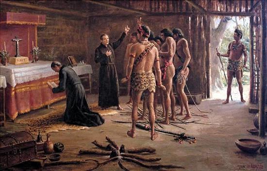 Benedito Calixto - Anchieta e Nóbrega na cabana de Pindobuçu