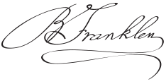 English: Signature of Benjamin Franklin.