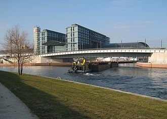 Berlin-Spandau Ship Canal - Barge entering the canal from the River Spree by the new Hauptbahnhof