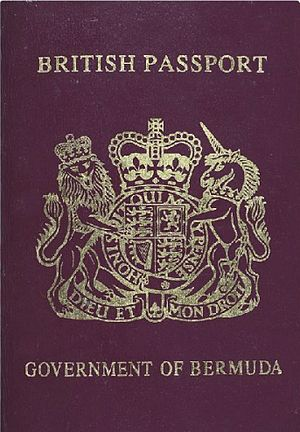 A British passport as issued by the Department of Immigration of the Government of Bermuda on behalf of the Passport Office of the Government of the United Kingdom, and often erroneously described as a Bermudian passport Bermuda passport.jpg