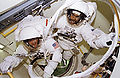 Bernard Harris and Michael Foale prepare to leave airlock - GPN-2006-000022.jpg