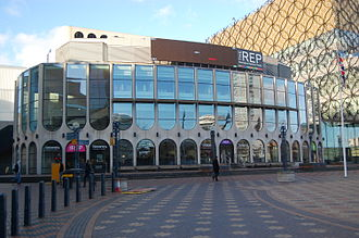 Birmingham Repertory Theatre - The Rep in February 2014, showing the new connecting wing linking to the Library of Birmingham (right)