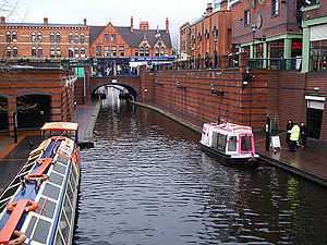 Brindleyplace - Brindleyplace (top right) with the ICC off camera (left); Gas Street Basin is beyond the bridge; Old Turn Junction is behind the photographer.
