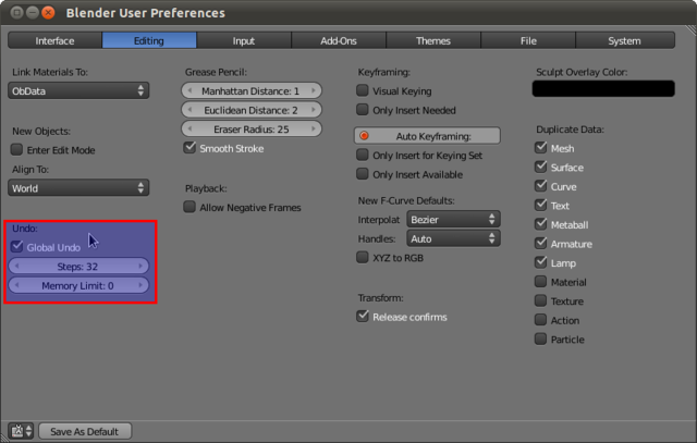 Blender User Preferences - Undo