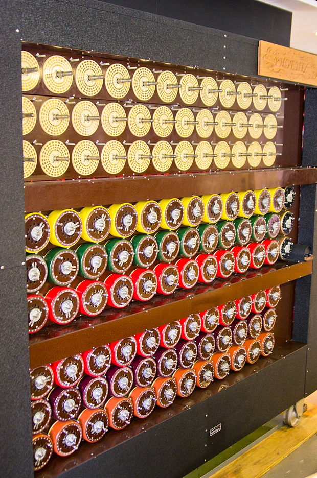 "The working rebuilt bombe now at The National Museum of Computing on Bletchley Park. Each of the rotating drums simulates the action of an Enigma rotor. There are 36 Enigma-equivalents and, on the right-hand end of the middle row, three indicator drums. John Harper led the ""Phoenix"" team that rebuilt this Bombe. It was officially switched on by the Duke of Kent, patron of the British Computer Society on 17 July 2008. Bletchley Park Bombe4.jpg"