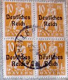 "Block of Bavarian stamps (1920s) overprinted with ""Deutsches Reich"""