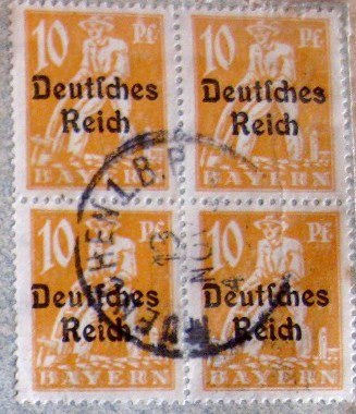 Block of Bavarian stamps (1920s) overprinted with %22Deutsches Reich%22