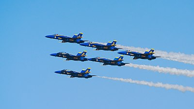 Blue Angels in delta formation at Fleet Week San Francisco 2016.jpg