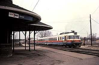 Blue Water (train) - The Blue Water Limited with a Turboliner trainset at Durand in 1979