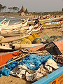 Boats on Beach with Shore Temple at Rear - Mamallapuram - India.JPG