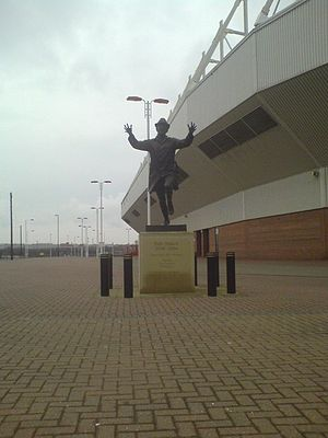 Stadium of Light - Statue of former Sunderland manager Bob Stokoe outside the South East corner of the Stadium