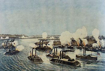 Bombardment and capture of Island Number Ten on the Mississippi River, April 7, 1862.jpg