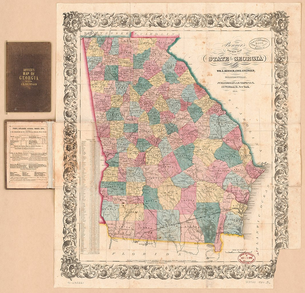 Map Of The State Of Georgia.File Bonner S Pocket Map Of The State Of Georgia Loc 91685221 Jpg