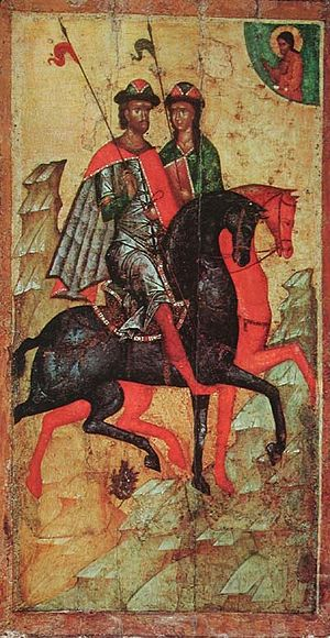 Boris and Gleb - Icon of Saints Boris and Gleb on horseback. Moscow, mid 14th century (Tretyakov Gallery).