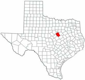 National Register of Historic Places listings in Bosque County, Texas - Location of Bosque County in Texas