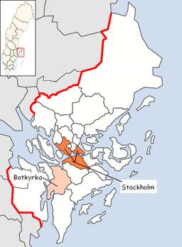 Botkyrka kommunes beliggenhed i Stockholms län