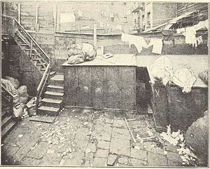 Whyos - Bottle Alley, the Whyos Gang headquarters, in the Bowery, Manhattan, New York City in an 1890 photograph by noted photographer Jacob Riis.