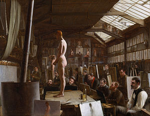 Atelier - Bouguereau's Atelier at Académie Julian in Paris by Jefferson David Chalfant (1891)