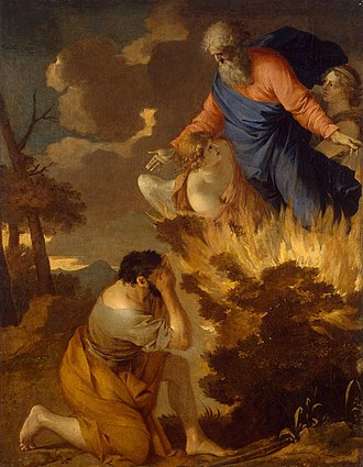 Burning bush - Burning bush. 17th century painting by Sébastien Bourdon in the Hermitage Museum, Saint Petersburg