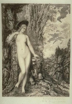 The Lion in Love (fable) - An etching by Félix Bracquemond after Gustave Moreau, 1886