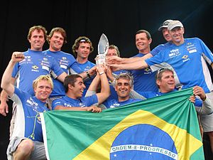 "Horacio Carabelli - Team ""Brasil 1"" at the Volvo Ocean Race 2005–06 prize-giving ceremony."