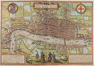 Copperplate map of London - Braun and Hogenberg's map of London, published in 1572, showing the probable extent of the area originally covered by the full Copperplate map