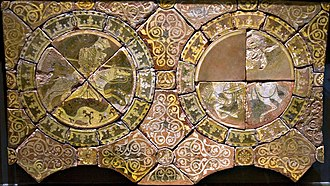 Chertsey Abbey - Richard I and Saladin in the British Museum tiles