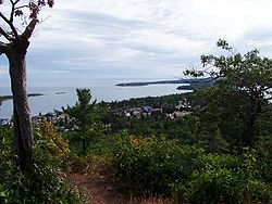 View down on Copper Harbor, Michigan from the first overlook.
