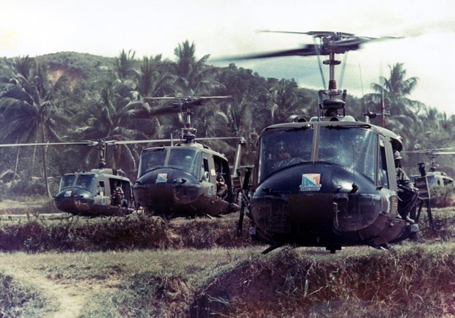 Bruce Crandall leads formation of UH-1s of 229th Aviation Rgt. ca. 1966