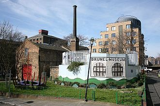Brunel Museum - View of the Brunel Museum taken in 2007 showing the new mural of the tunnel shield on the Rotherhithe Shaft