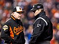 Buck Showalter and Angel Hernandez in 2012 (8066219028).jpg