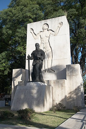 Pedro de Mendoza - Monument to Pedro de Mendoza, Parque Lezama, neighborhood of San Telmo, Buenos Aires, Argentina.