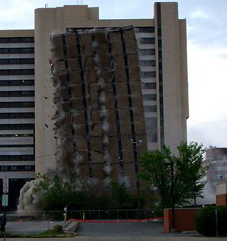 Building implosion - Demolition by controlled explosion in Buffalo, New York